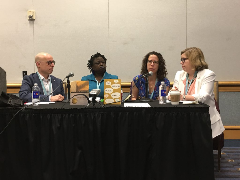 Jeffrey Lependorf, Rosamond S. King, Jane Friedman,Nicole Dewey _There's Waldo!_ Marketing a First Book CLMP AWP 2018