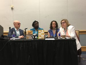 Jeffrey Lependorf, Rosamond S. King, Jane Friedman,Nicole Dewey Marketing a First Book CLMP AWP 2018