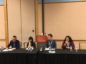 Paul Reyes, Meara Sharma, Johnny Temple, Amanda Johnston_Political Pivoting Literary Publishing at the Pace of Politics CLMP AWP 2018