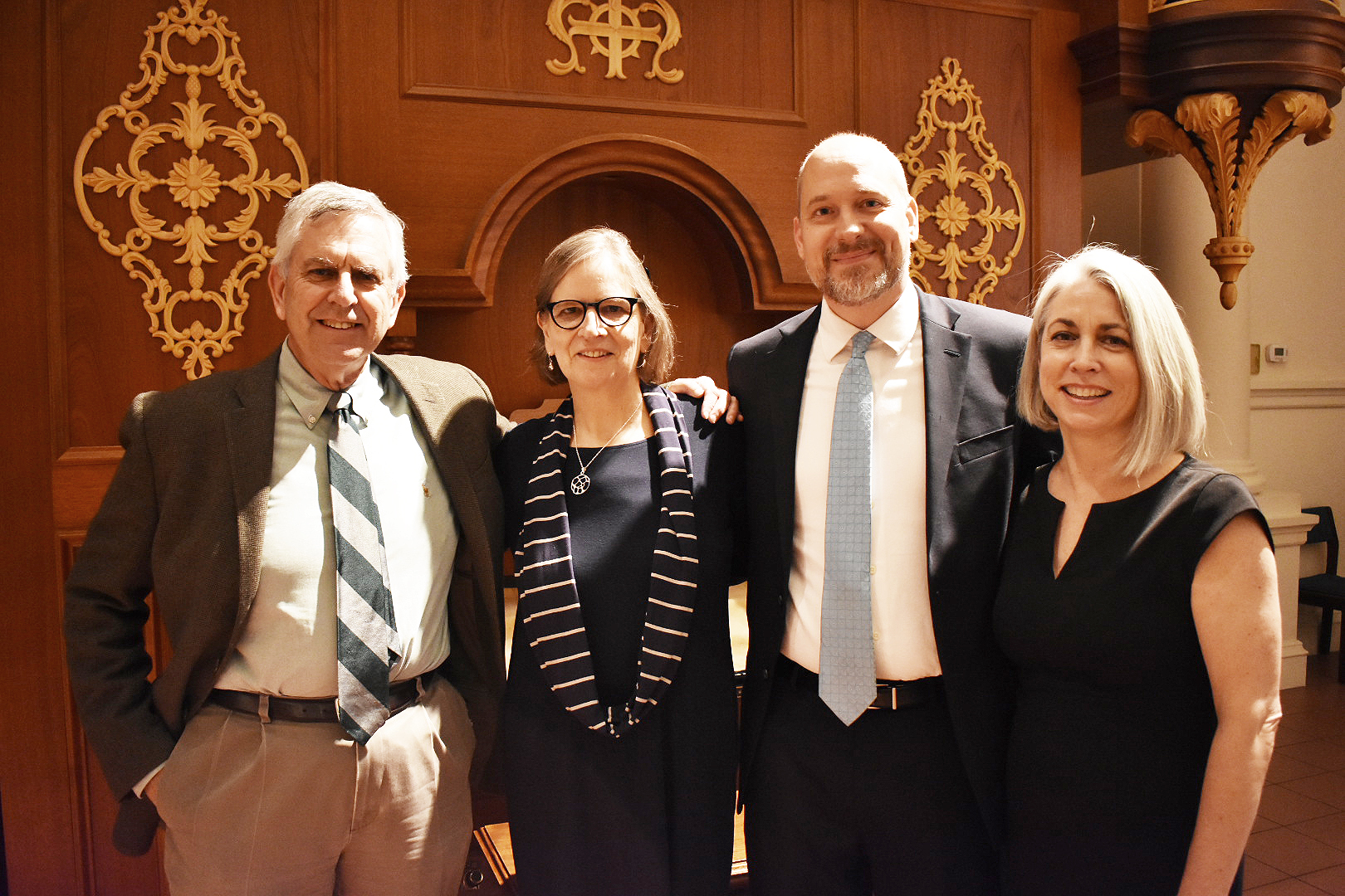 CLMP Board Co-chair Gerald Howard, Graywolf publisher Fiona McCrae, Poets & Writers Editor-in-Chief Kevin Larimer, and CLMP Executive Director Mary Gannon