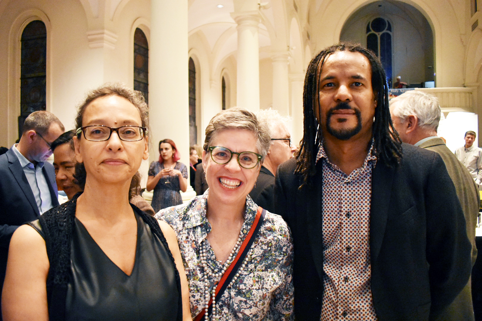 Literary agents Nicole Aragi and Sarah Burnes and author Colson Whitehead